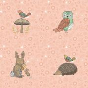 Doodle Days by Makower UK - 5462 - Rows of Woodland Animals on Pale Pink - 1871_P - Cotton Fabric